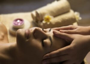 Lady having a head massage