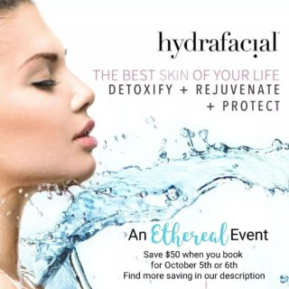 There's a great event just around the corner at Ethereal Day Spa💧  H Y D R A F A C I A L  S P E C I A L Schedule for October 5th and 6th to receive our special pricing.  💧$50.00 off any hydrfacial booked on the 5th or 6th 💧Take an additional $25.00 off if you purchase a series of 4, 6 or 8 💧call the spa for package pricing720.200.4255